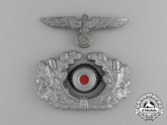 A Wehrmacht Heer (Army) Officer's Visor Cap Insignia