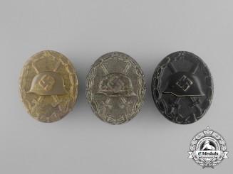 Three Second War German Wound Badges