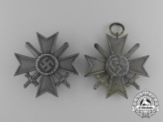 Two War Merit Crosses with Swords by Klein & Quenzer and Otto Schinkle
