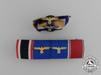 A Grouping of a Second War German Ribbon Bar and a Boutonniere