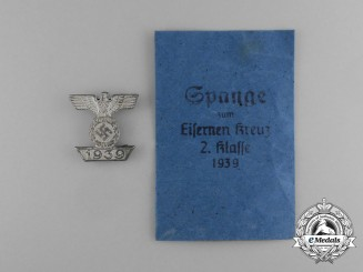 A Clasp to the Iron Cross 1939 Second Class; Type II in its Packet of Issue by Frank & Reif