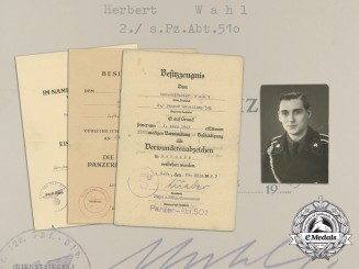 An Extensive Award Document Group to Heavy Panzer Battalion NCO Herbert Wahl