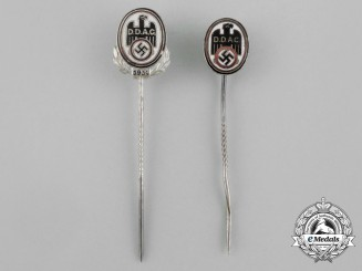 A Grouping of Two DDAC (German Automobile Club) Membership Stick Pins