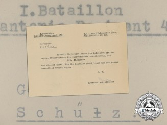 A Congratulatory Letter from 1st Battalion of Infantry Regiment 432 for Iron Cross