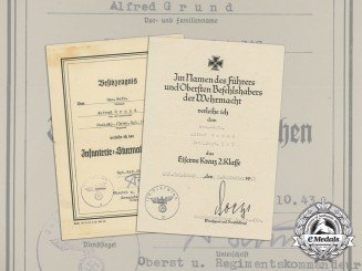 Two Award Documents to Medical Corporal of Grenadier Regiment 347