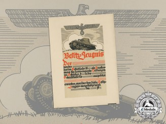 A Large Marksmanship Certificate for Panzer Units