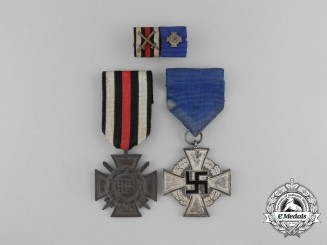 A Faithful Service Medal Pair with Ribbon Bar