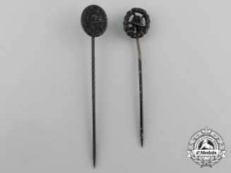 Two Miniature Black Grade Wound Badges