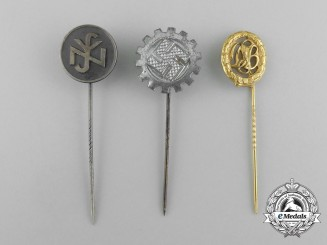 A Grouping of Three Third Reich German Stick Pins