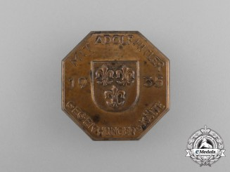 """A 1935 """"With A.H. Against Hunger and the Cold"""" Donation Badge"""