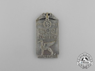 A 1933 Karlsruhe National Socialist Borderlands Meeting Badge by K. Schenkel