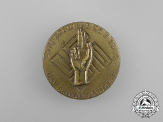 "A Fine Quality 1934 Gau Mainfranken ""Oath of Allegiance Ceremony"" Badge by Wächtler & Lange"