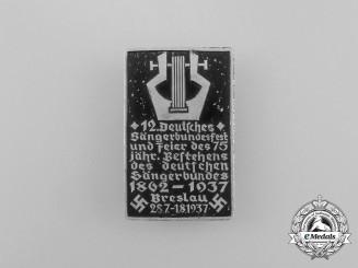 A 1937 Breslau 12th Sängerbund Festival and Celebration of its 75 Anniversary Badge