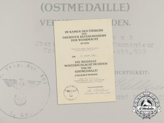 An Eastern Front Medal certificate to Ambulance Battalion NCO Helmut Loos
