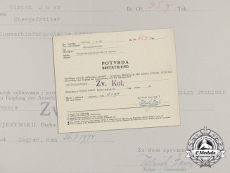 A Confirmation of Receipt for the Silver Medal of the Crown of King Zvonimir to Ulrich Jost