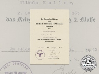 A War Merit Cross 2nd Class Document to Medical Lance Corporal Wilhelm Keller