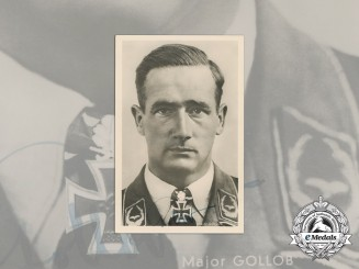 A Wartime Signed Picture Postcard of Flying Ace Major Gordon Gollob
