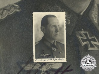 A Signed Wartime Photo of Oak Leaves recipient Major General Paul Klatt
