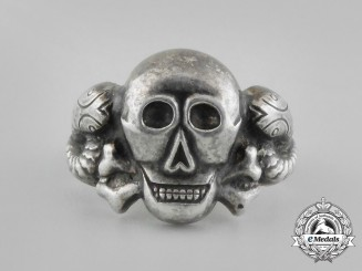"A Third Reich Period German Silver Skull Ring: Marked ""835"""