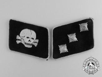 "A Fine Set of Waffen-SS 3rd Panzer Division ""Totenkopf"" Untersturmführer Collar Tabs"