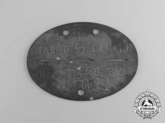 A Stab II Waffen-SS Infantry Regiment 10 Identification Tag
