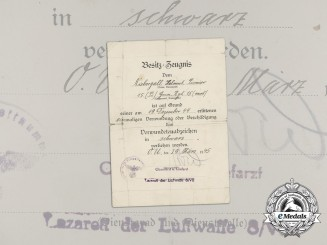 A 1944 Wound Badge Award Document to Grenadier Regiment 15