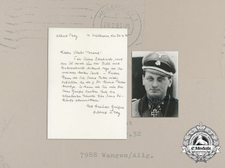 A Post-War Signed Photo of Oak Leaves recipient SS-Standartenführer Albert Frey