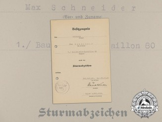 An Assault Badge Award Document to Construction Sapper Battalion 80
