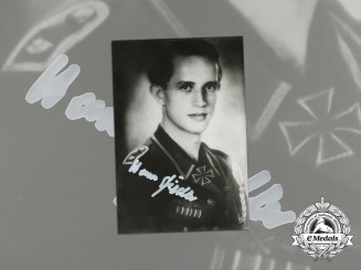 A Post-War Signed Photo of KC Recipient Hans Fiedler