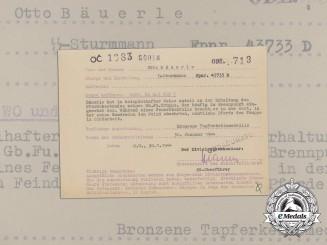 """A Bravery Award Document to SS-Sturmmann Bäuerle, SS Division """"Prinz Eugen"""""""
