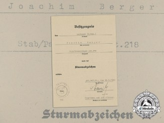 A General Assault Badge Document to Tank Destroyer