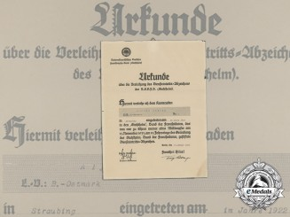 A 1935 Stahlhelm Commencement of Duty Badge Document to Alfons Endres