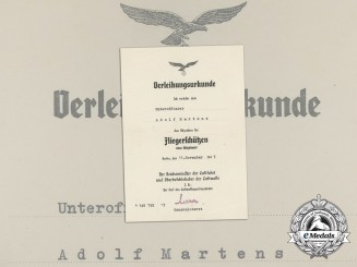 An Air Gunner Badge Without Lightning Bolts Document to Adolf Martens