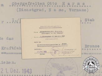 A Driver's Proficiency Badge in Bronze Award Document to Otto Harms