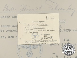 A 1939 Spanish Cross in Gold Preliminary Document to Squadron Leader 4th Kampfgruppe