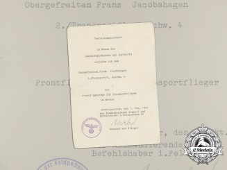 A Luftwaffe Transport Clasp in Bronze Award Document to Franz Jacobshagen