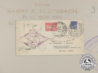 "An Envelope sent on the ""Graf Zeppelin"" from Brazil via New York to Spain"