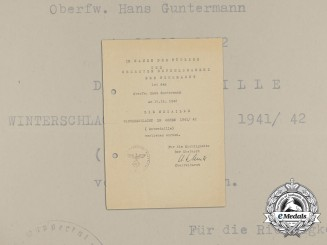 An Eastern Front Medal Award Document to Oberfeldwebel Hans Guntermann