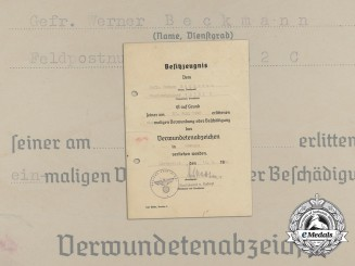 A Black Grade Wound Badge Award Document to Artillery Regiment 3