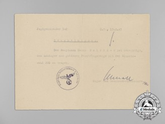 Germany, Luftwaffe. A Gold Grade Squadron Clasp with 200 Hanger Document to Captain Heinz Schröder