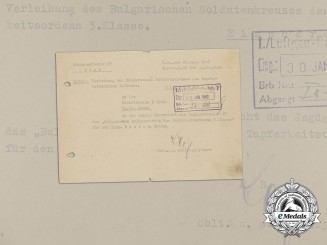 A Bulgarian Soldier Cross of Bravery 3rd Class & Letter to 27 Fighter Wing