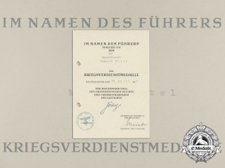 Germany, Heer. A War Merit Cross Award Document to Female Office Helper Margarete Urtel