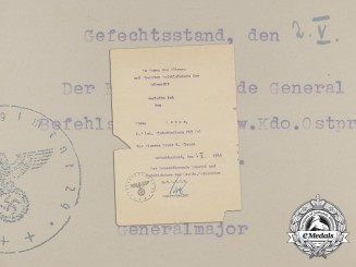 An Iron Cross 1st Class Award Document to  the 1st Company of Light Flak