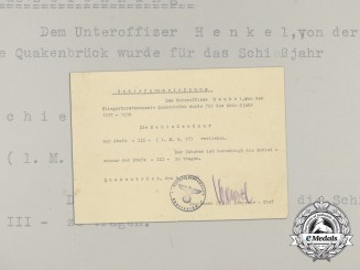 A Third Grade Marksmanship Award Document to Luftwaffe NCO Henkel