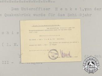 A Third Grade Marksmanship Award Document to Luftwaffe NCO Henkel