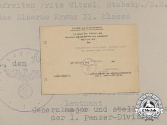 An Iron Cross 2nd Class Preliminary Document to the 1st Panzer Division