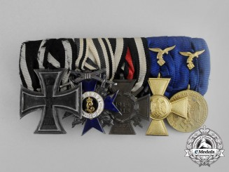 A First War Flieger Long Service & Bavarian Merit Order Medal Bar