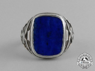 An Early Luftwaffe Ring Ordained with a Midnight Blue Onyx Gemstone; Silver