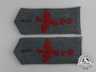 A Pair of First War Prussian Flyer Reserve Division Nr. 2 Shoulder Straps