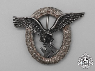 A Fine Early Quality Manufacture Luftwaffe Pilot's Badge by C. E. Juncker of Berlin